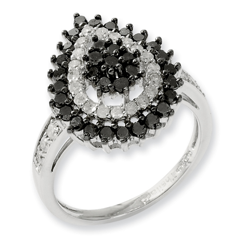 1 Ct Sterling Silver Black and White Diamond Ring