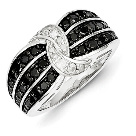 0.88 Ct Sterling Silver Black and White Diamond Ring
