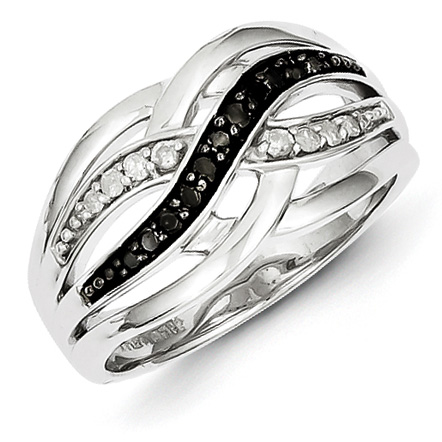 0.2 Ct Sterling Silver Black and White Diamond Ring