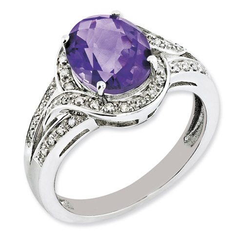 Sterling Silver 2.2 ct Oval Amethyst Ring with Diamonds