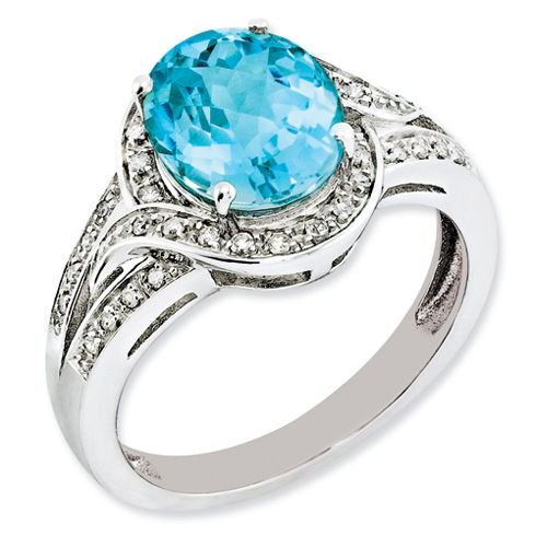 Sterling Silver 3.25 ct Light Swiss Blue Topaz Ring with Diamonds