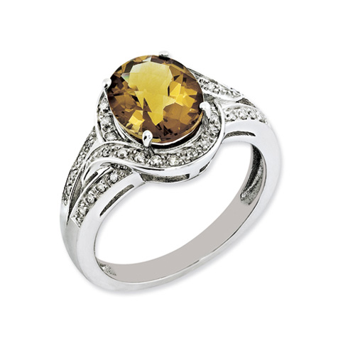 2.45 ct Sterling Silver Diamond and Whiskey Quartz Ring