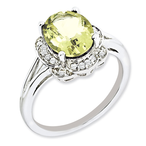 Sterling Silver 2.4 ct Oval Lemon Quartz Ring with Diamonds