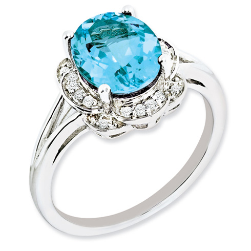 Sterling Silver 3.25 ct Oval Light Swiss Blue Topaz Diamond Ring