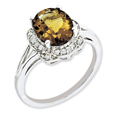 2.4 ct Sterling Silver Diamond and Whiskey Quartz Ring
