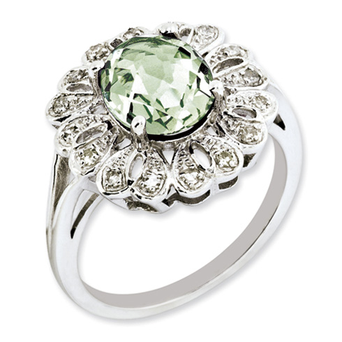2.45 ct Sterling Silver Diamond and Green Quartz Ring