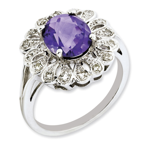 2.2 ct Sterling Silver Diamond and Amethyst Ring
