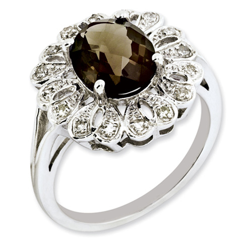 2.45 ct Sterling Silver Diamond and Smokey Quartz Ring