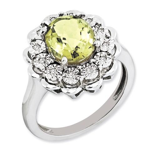 2.45 ct Sterling Silver Diamond and Lemon Quartz Ring