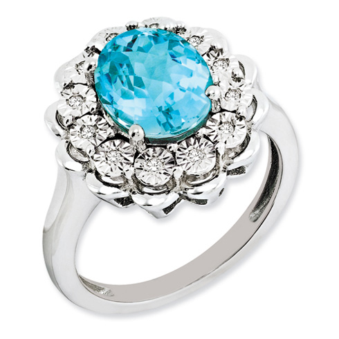3.25 ct Sterling Silver Diamond and Light Swiss Blue Topaz Ring