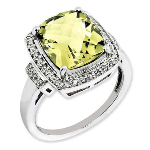 Sterling Silver 5.45 ct Lemon Quartz Ring with Diamonds