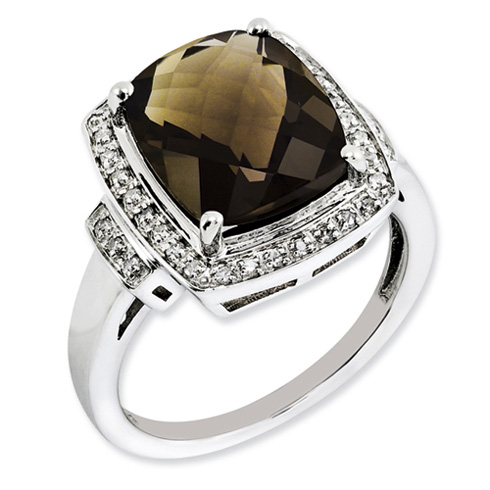Sterling Silver 5.45 ct Diamond Smoky Quartz Checkerboard Halo Ring
