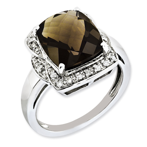 Sterling Silver 5.45 ct Smoky Quartz and Diamond Fancy Ring