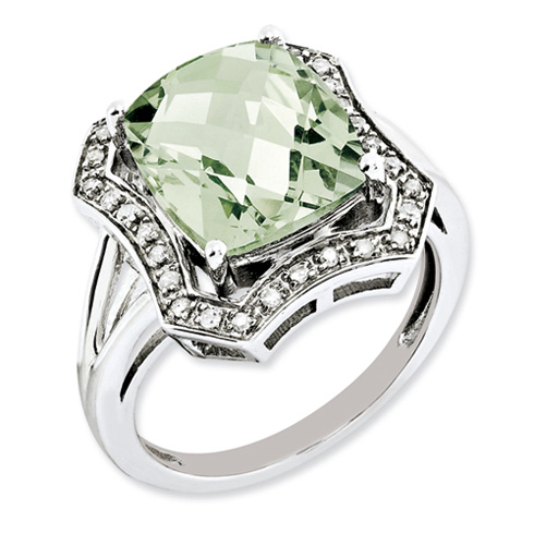 5.45 ct Sterling Silver Diamond and Green Quartz Ring