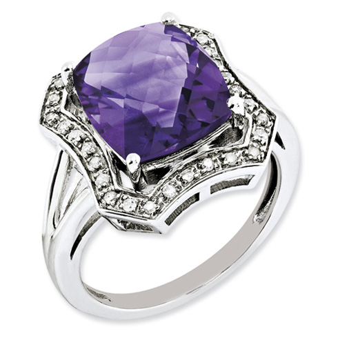 5.45 ct Sterling Silver Diamond and Amethyst Ring