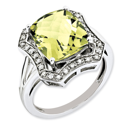 5.45 ct Sterling Silver Diamond and Lemon Quartz Ring