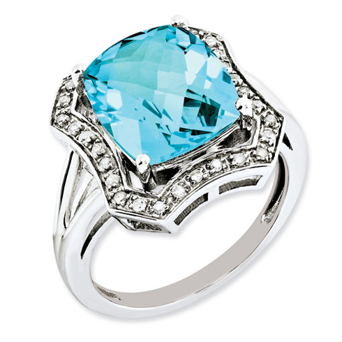 7 ct Sterling Silver Diamond and Light Swiss Blue Topaz Ring