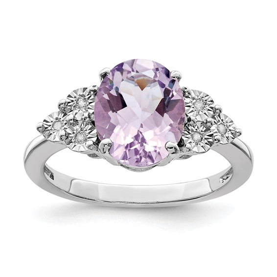 2.4 ct Sterling Silver Diamond and Pink Quartz Ring