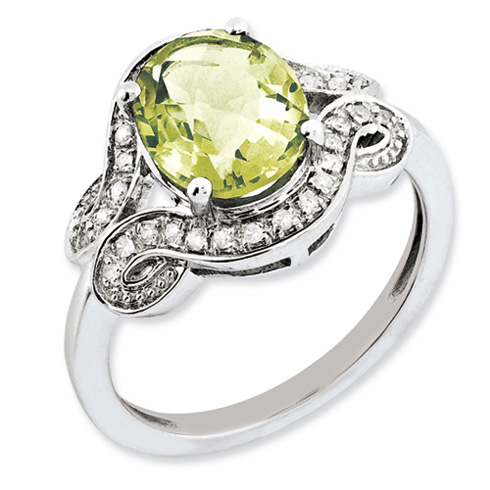 2.4 ct Sterling Silver Diamond and Lemon Quartz Ring