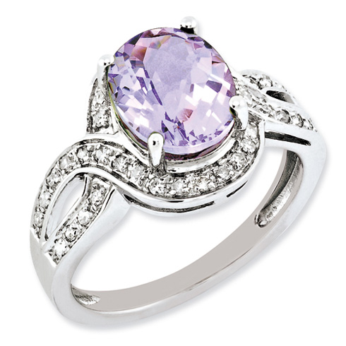 2.45 ct Sterling Silver Diamond and Pink Quartz Ring
