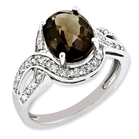 2.45 ct Sterling Silver Diamond and Smokey Quartz Ring