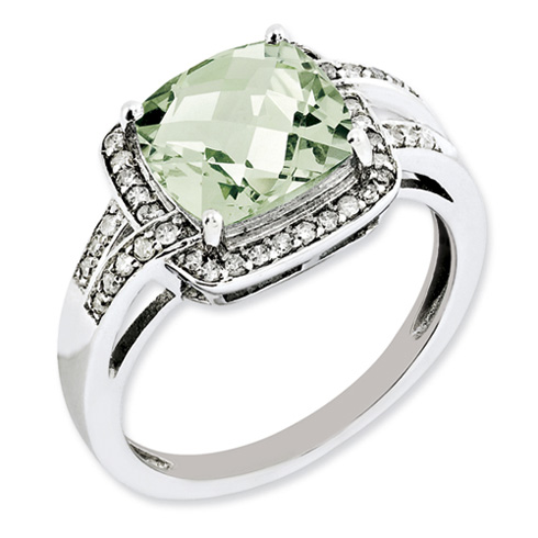 3.2 ct Sterling Silver Diamond and Green Quartz Ring