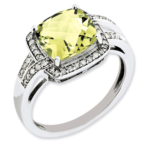 Sterling Silver 3.2 ct Lemon Quartz Ring with Diamonds