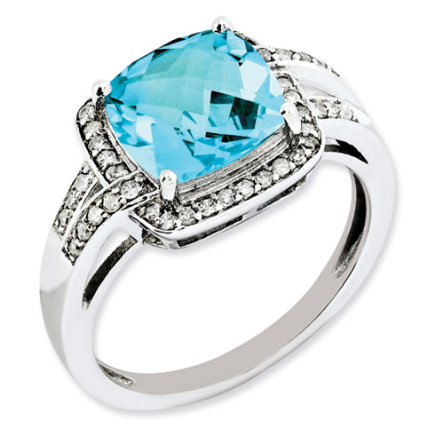 3.8 ct Sterling Silver Diamond and Light Swiss Blue Topaz Ring