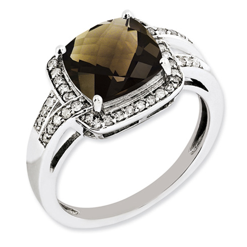 3.2 ct Sterling Silver Diamond and Smokey Quartz Ring