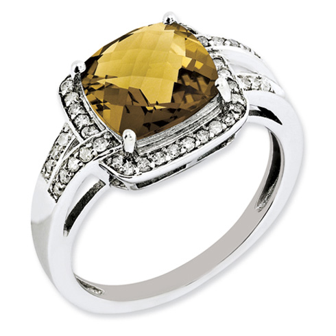 3.2 ct Sterling Silver Diamond and Whiskey Quartz Ring