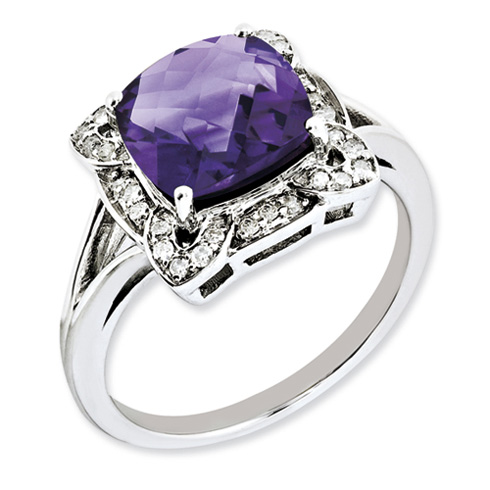 Sterling Silver 3 ct Checkerboard Amethyst Ring with Diamonds