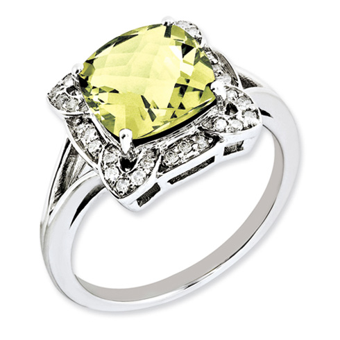 3.2 ct Sterling Silver Diamond and Lemon Quartz Ring