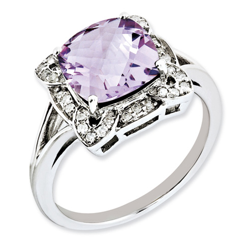 3.2 ct Sterling Silver Diamond and Pink Quartz Ring