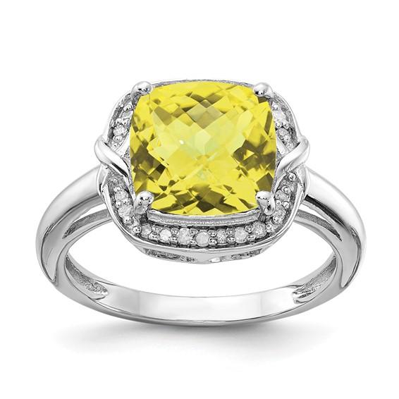 Sterling Silver 3.2 ct Checkerboard Lemon Quartz Ring with Diamonds
