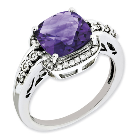 3 ct Sterling Silver Diamond and Amethyst Ring