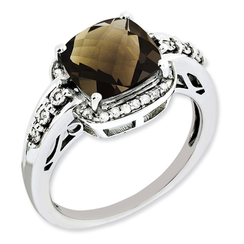 3.2 ct Sterling Silver Diamond and Smokey Quartz Ring