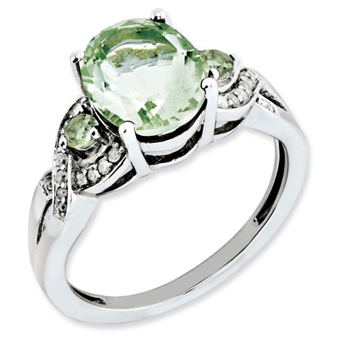 2.4 ct Sterling Silver Diamond and Green Quartz Ring