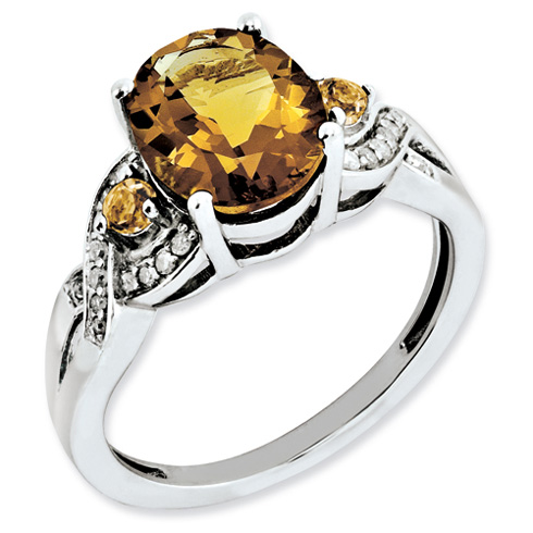 2.52 ct Sterling Silver Diamond and Whiskey Quartz Ring