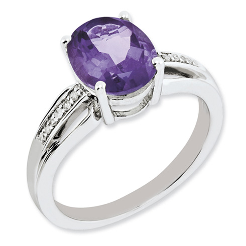Sterling Silver 2.4 ct Oval Amethyst Ring with Diamonds