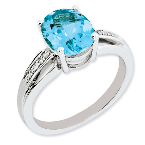 Sterling Silver 3.25 ct Oval Light Swiss Blue Topaz Ring with Diamonds