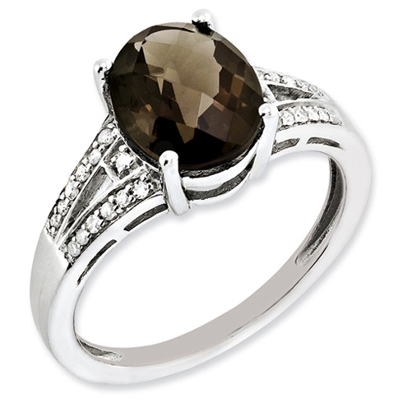 2.4 ct Sterling Silver Diamond and Smokey Quartz Ring