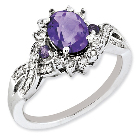 Sterling Silver 1.05 ct Amethyst and Diamond Ring