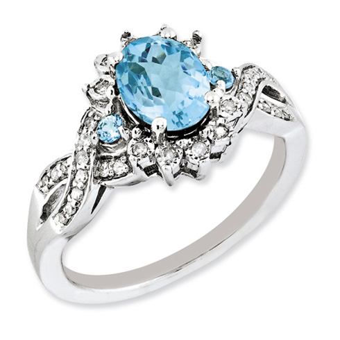 Sterling Silver 1.35 ct Swiss Blue Topaz and Diamond Ring