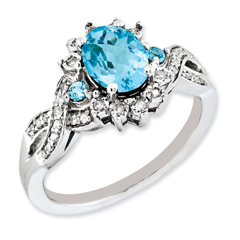 Sterling Silver 1.35 ct Light Swiss Blue Topaz Ring with Diamonds