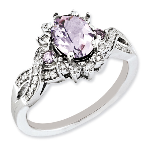 1.22 ct Sterling Silver Diamond and Pink Quartz Ring
