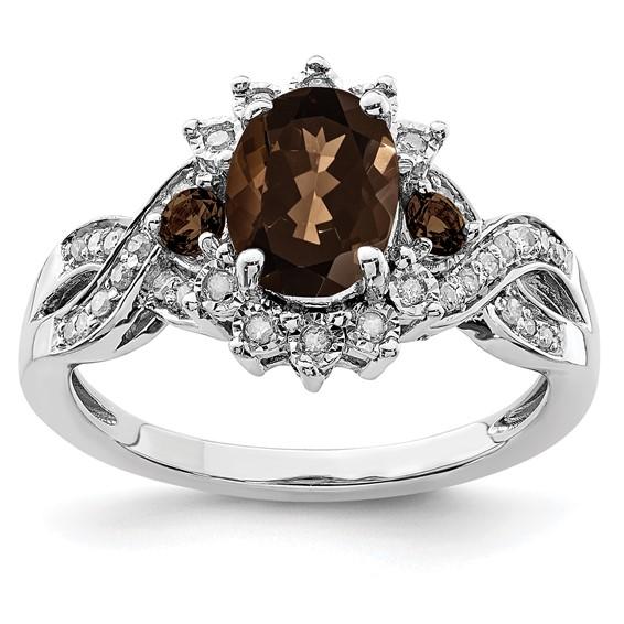 1.1 ct Sterling Silver Diamond and Smokey Quartz Ring