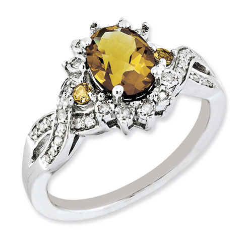 1.22 ct Sterling Silver Diamond and Whiskey Quartz Ring