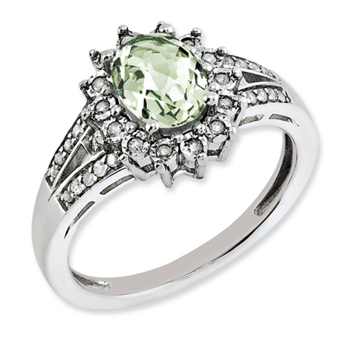 1.1 ct Sterling Silver Diamond and Green Quartz Ring
