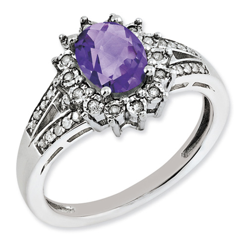 1.05 ct Sterling Silver Diamond and Amethyst Ring