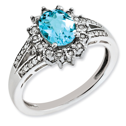 1.35 ct Sterling Silver Diamond and Light Swiss Blue Topaz Ring